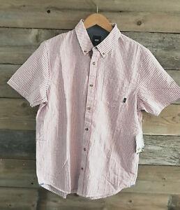 7c963349 Details about Vans Dress Shirt Button Up Red Striped Houser SS Men's Down  Medium Short Sleeve