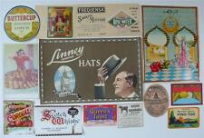 MIXED COLLECTION 14 VINTAGE LABELS CHEESE HATS DRINKS CHEMIST FABRIC ETC - SET 9