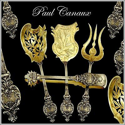 CANAUX Fabulous French All Sterling Silver Vermeil Dessert Set 4 pc w/box Torchs