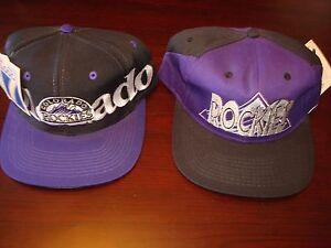 COLORADO ROCKIES LOT 2- HATS BIG LOGO SCRIPT VINTAGE 90 S HAT CAP ... bebb243387e8