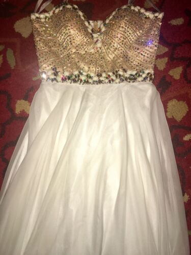 White Strapless Prom Dress