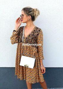 Zara-Floral-Printed-Voluminous-Dress-Size-S-Uk-8