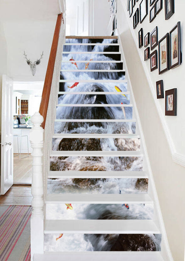 3D River Fishes 24 Stair Risers Decoration Photo Mural Vinyl Decal Wallpaper UK