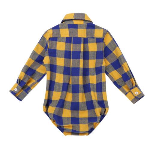 Baby Junge Langarm Body Kariert Shirt Overall Strampler Freizeithemd 74 80 86 92