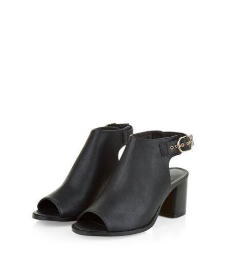 look Black 39 Buckle Cc Look Nh091 Leather 08 6 Block Uk Toe New Peep Eu Heel 1tHgxn7