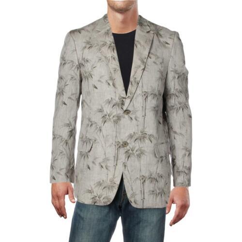 Tasso Elba Mens Linen Floral Workwear Two-Button Blazer Jacket BHFO 4541