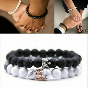 Couple-Bracelets-2Pcs-King-Queen-Crown-His-And-Her-Friendship-8mm-Beads-Bracelet
