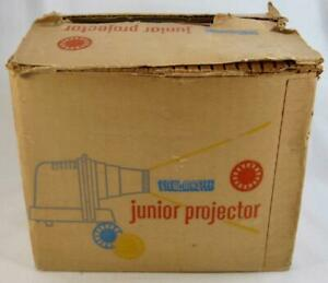 Viewmaster-Junior-Projector-In-OB-Vintage-Brown-amp-Tan-With-4-Cards-Sawyers-O