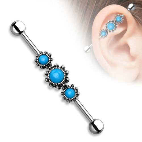 """Triple Turquoise with Filigree Industrial Barbell Scaffold Piercing 14g 1.5/"""""""