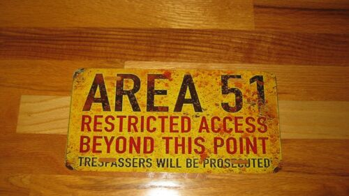 CAR TAG GREAT ITEM!! AREA 51 RUSTIC LOOK-WARNING PROTEST THEY CANT STOP US ALL!