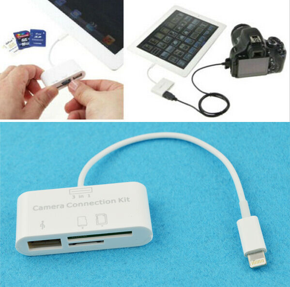 3 in 1 USB Camera Connection Kit Memory Card Reader For iPad 4/Mini/iOS 9 Cool B