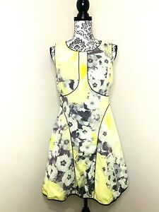 PORTMANS Black White Yellow Floral Size 12 Fit & Flare Pleated Lined Party Dress
