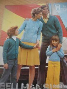 Vintage Bellmans 1970 S Dk Knitting Pattern Femme Homme Enfant Cardigan 24 - 32-afficher Le Titre D'origine