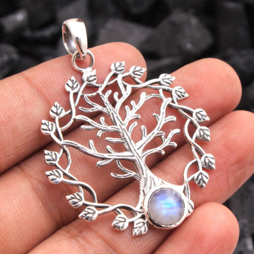 Natural Moonstone Gemstone 925 Sterling Silver jewelry tree of life pendant