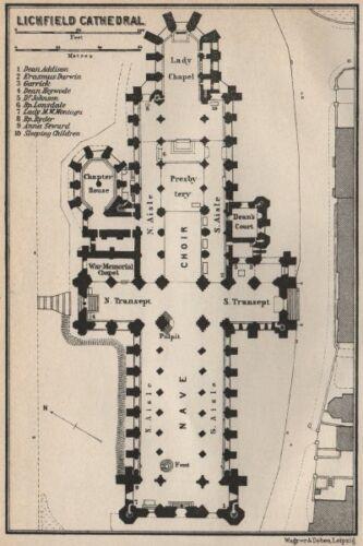 BAEDEKER 1927 old vintage map Staffordshire LICHFIELD CATHEDRAL floor plan