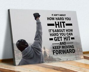 ROCKY STEPS MOTIVATIONAL QUOTE CANVAS WALL ART PICTURE PRINT FRAMED