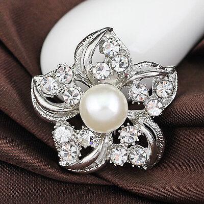 Bridal Rhinestone Crystal Brooch Pin Silver Pearl Bouquet Brooches Women Flower