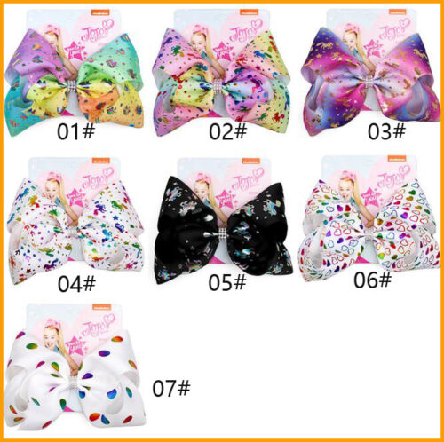 8 Inch JOJO SIWA Large Hair Bow Rainbow Unicon Bow-knot Hairpins for Girls Gift