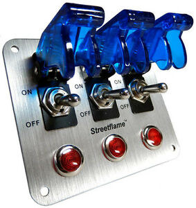 3 Toggle Switch LED Nitrous Activate PANEL BLUE Safety ...