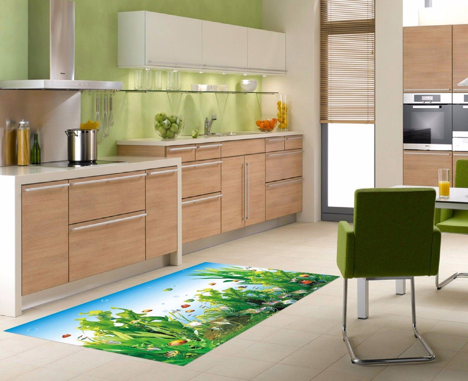 3D Seaweed Fish 8 Kitchen Mat Floor Murals Wall Print Wall AJ WALLPAPER AU Carly