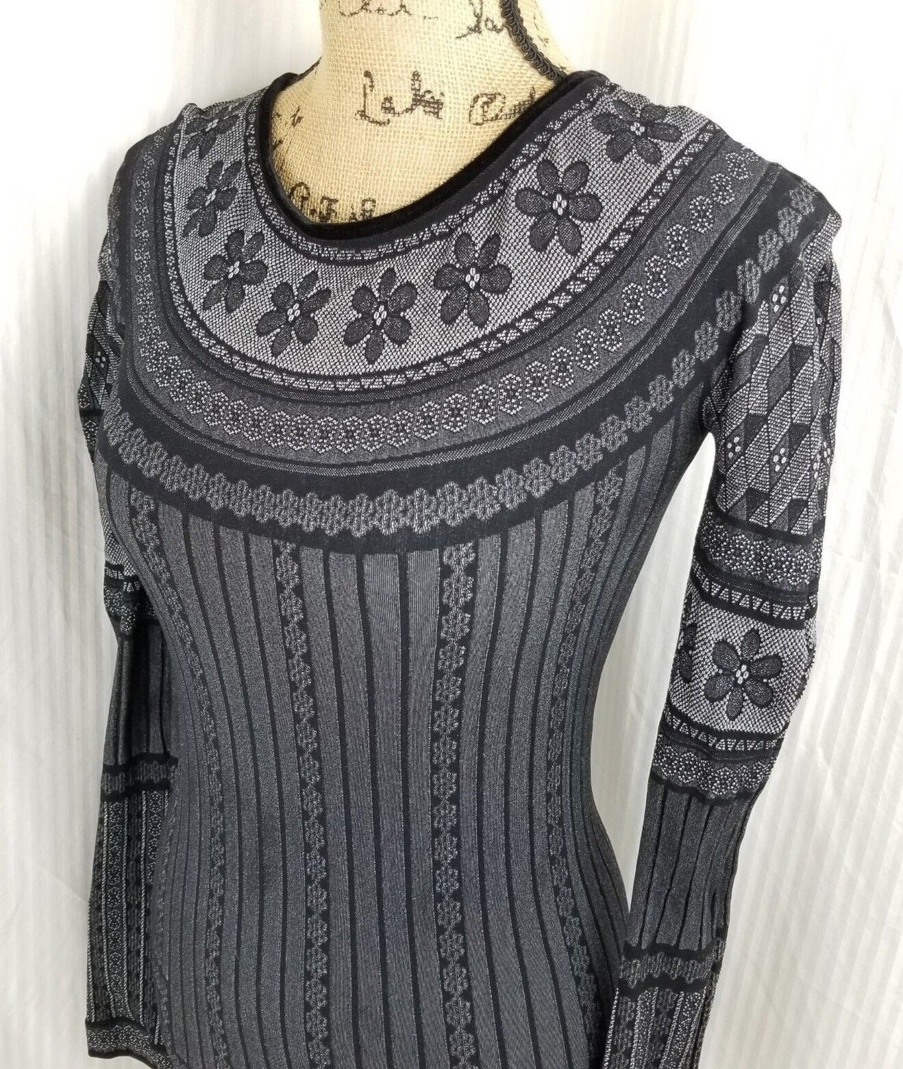 High Tech  Everyday Couture By Claire Campbell sz L XL schwarz Flower Shirt