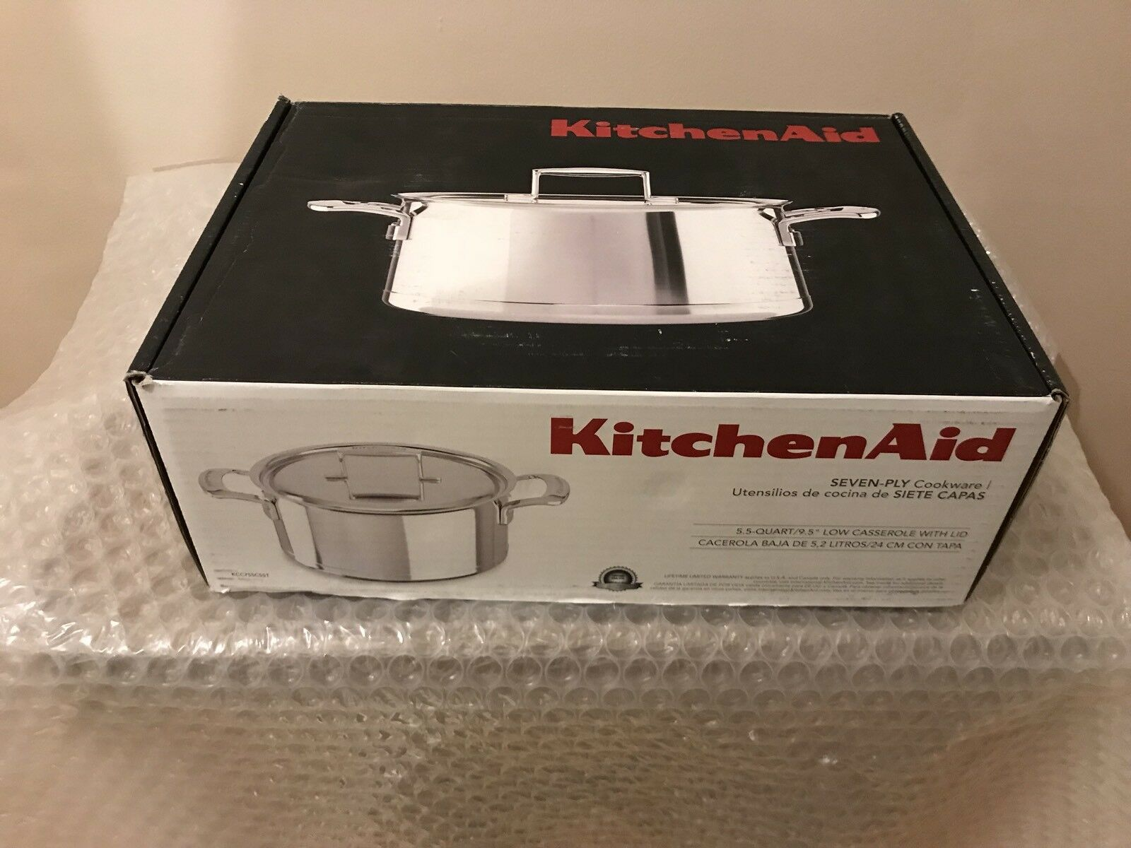 KitchenAid Stainless Steel 7-Ply Core Clad 24cm Casserole with Lid KCC755CSST