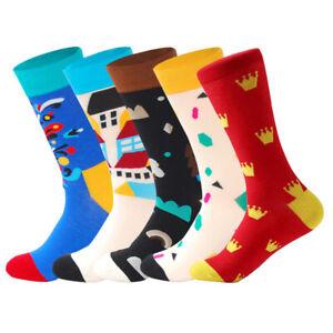 5 Pairs Mens Cotton Socks Lot Chromatic Stripe Fancy Design Casual Dress Men Sox