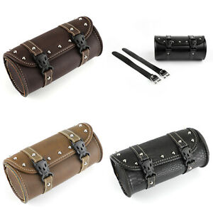 Motorcycle-Front-Fork-Tool-Pouch-Luggage-SaddleBag-Leather-Universal