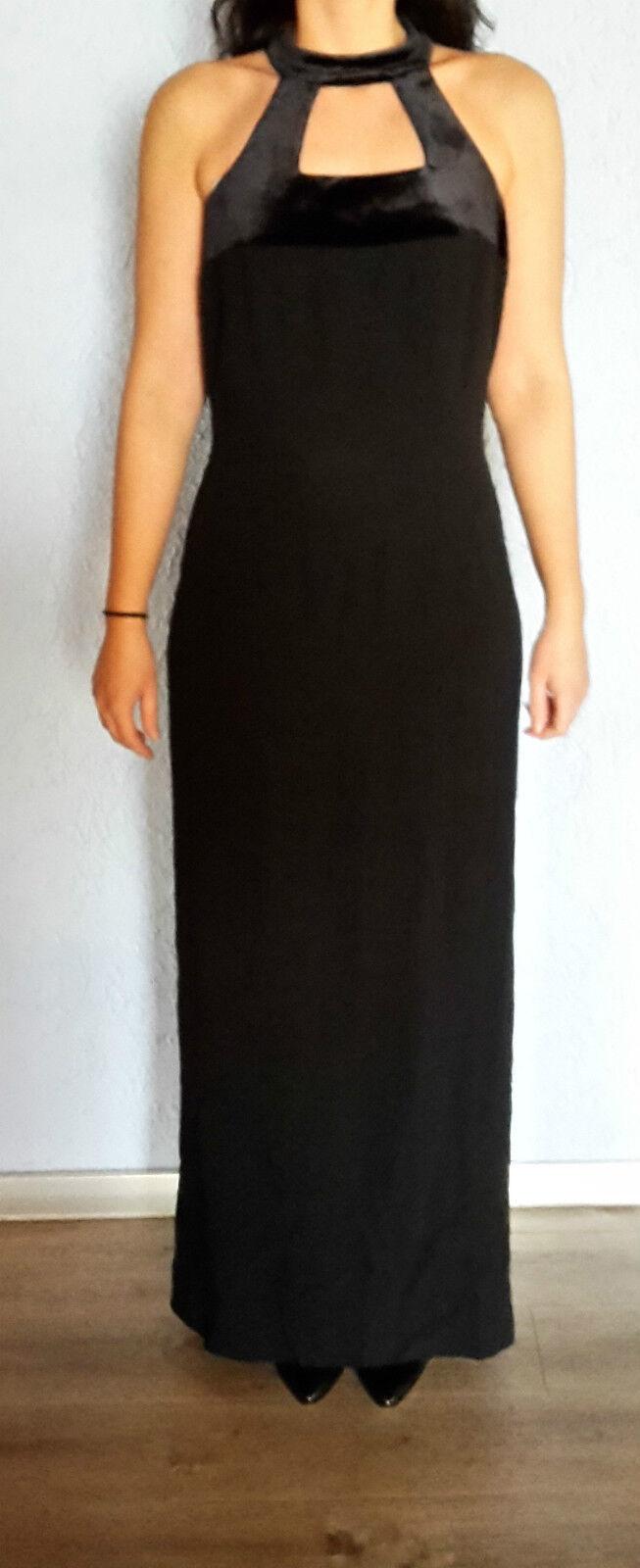 Elegantes Abendkleid Samt Bruni Benini S 36 schwarz Maxikleid langes Kleid