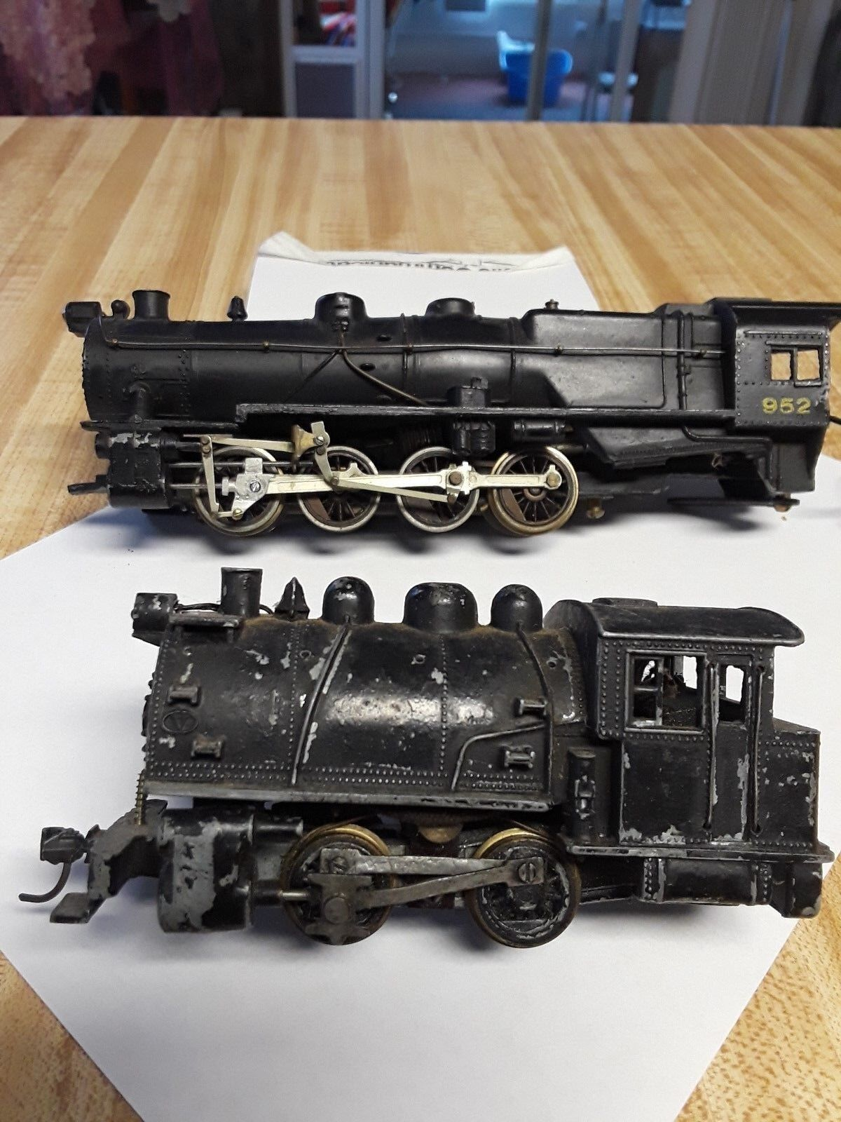 Two small scale vintage toy electric locomotives