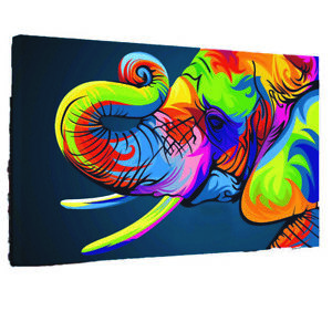 Details About Pop Art Abstract Elephant Bright Canvas Wall Art Wood Framed Ready To Hang Xxl