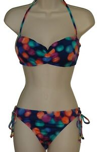 Bar-III-blue-underwire-push-up-bandeau-bikini-size-S-swimsuit-new