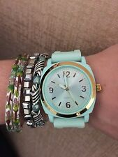 ANTHROPOLOGIE VISCID WATCH RUBBER JELLY BAND SKY MINT SEAFOAM NWT BOYFRIEND