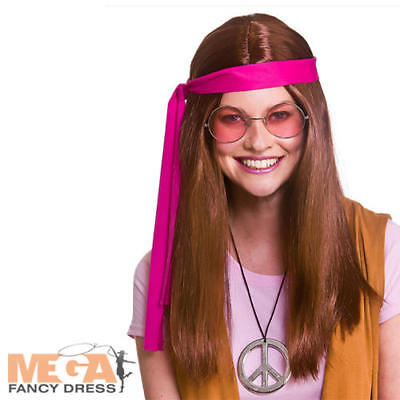 Brown 1960s Kit Hippie Donna Costume 70s Woodstock Adulti Costume Accessorio-mostra Il Titolo Originale
