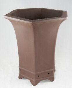 Hexagon Brown Zisha Cascade Bonsai Pot Orchid Planter 10 5 X 10 5 X 12 75 Ebay