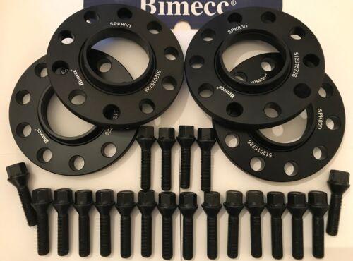 Bulloni Adatto a BMW 72.6 4 x 15 mm BIMECC Nero Lega Ruota Distanziatori M14X1.25