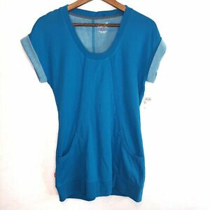 Womens-Ryka-Workout-Top-Tunic-Short-Sleeve-Teal-Pocket-Sweatshirt-Small-Gym