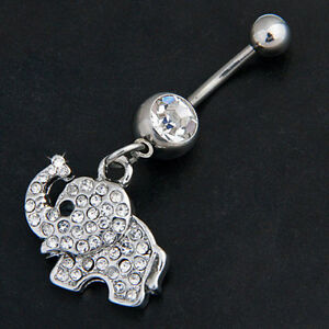 Elephant-Dangle-Navel-Belly-Button-Ring-Bar-Barbell-Rhinestone-Body-Piercing-New
