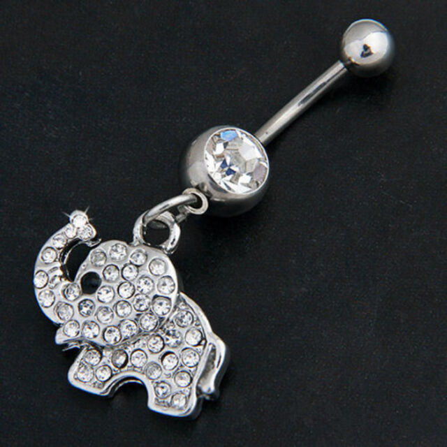 Elephant Dangle Navel Belly Button Ring Bar Barbell Rhinestone Body Piercing New