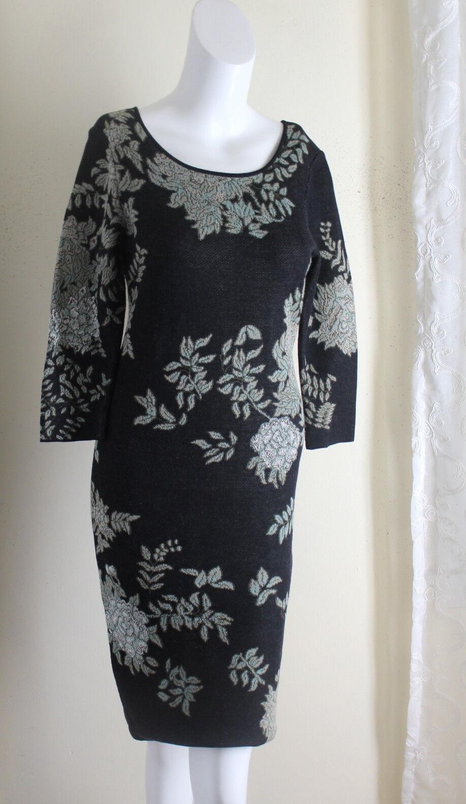 Peruansk anslutning  Sz XS konst -to -wear Pima Cotton Knit Flor tröja Dress