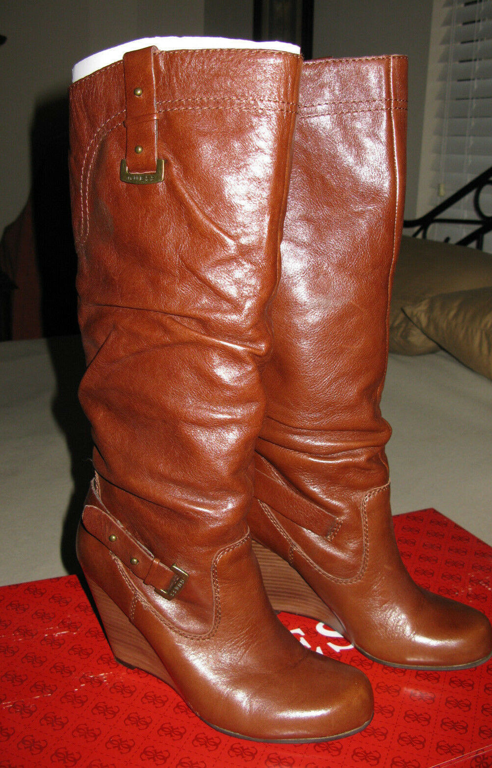 Guess 7 M Mabele Brown Leather Boots  Womens shoes