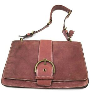 7733f1f8fba1 Image is loading COACH-Suede-Leather-Shoulder-Bag-SATCHEL-PURSE-Buckle-