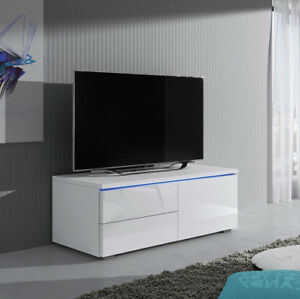 Details zu TV-Lowboard Mata XI R Wohnzimmer TV-Möbel mit Blauer Beleuchtung  Hochglanz