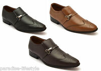 Mens Brogue Shoes Buckle Formal Evening Wedding Slip-on Leather Shoes Size Sole
