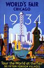 "Vintage Travel Poster *FRAMED* CANVAS ART 16""x12"" Chicago World fair USA 1934"