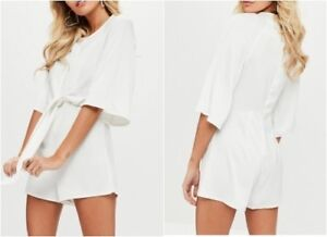 109ce848057a Image is loading MISSGUIDED-Tie-Front-Kimono-Sleeve-Playsuit-in-Ivory-