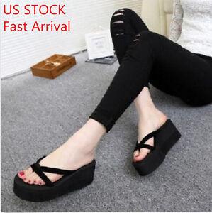 cc9e1c996e4f Image is loading Womens-Girl-Wedge-Platform-Thong-Flip-Flops-Sandals-