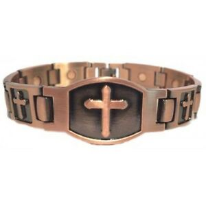ARTHRITIS-MEN-039-S-CROSS-COPPER-MAGNETIC-BRACELET-BRAND-NEW-MAGNET-IN-EVERY-LINK