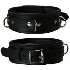 Unisex PADDED LEATHER D RING Collar Restraint BASED IN THE UK!