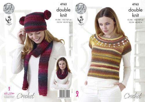 Crochet Pattern Womens Lacy Top with Yoke Hat Scarf /& Snood King Cole DK 4763